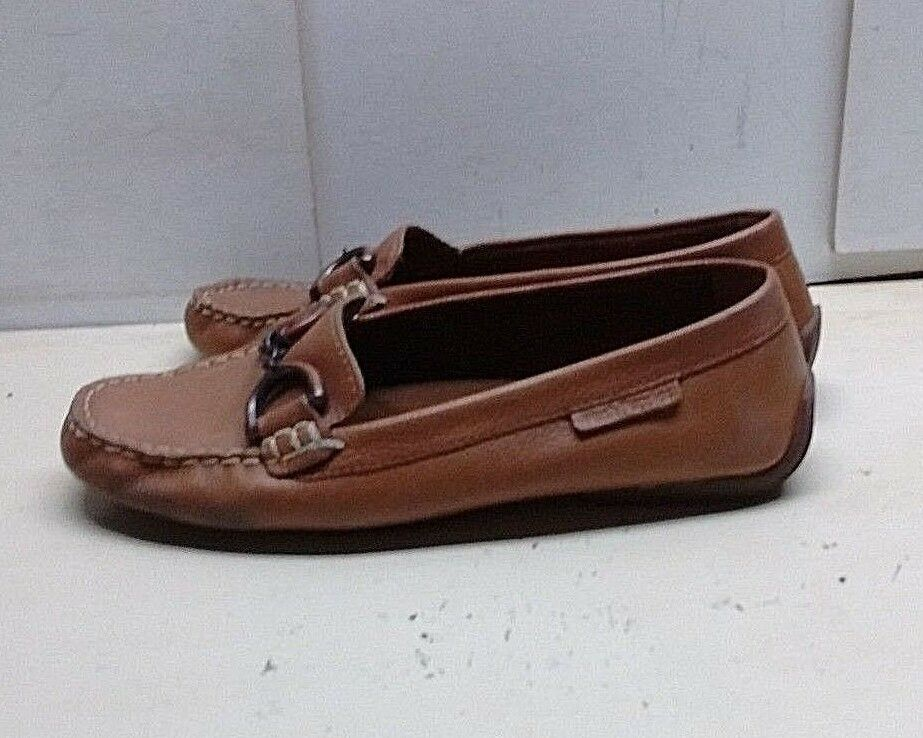 Hush Puppies Women Brown Driving Moccasin Horse bit Slip On Loafer shoes 8.5M 40