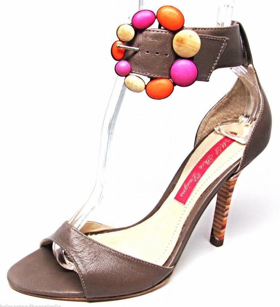 Größe 7 Monticello Brazil Beige Flower Leder High Heel Open Toe Sandale Schuhes