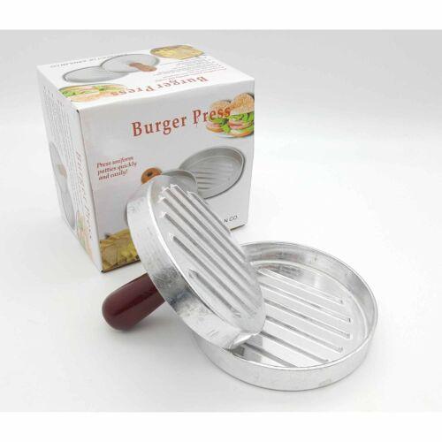 Non-Stick Burger Press Mould Maker Silver Hamburger Quarter Pounder BBQ Barbecue