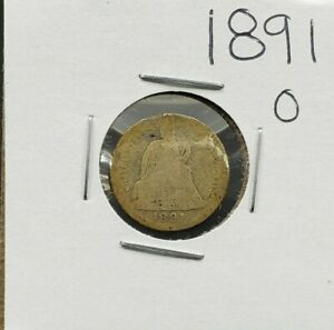 1891 O Liberty Seated Silver Dime Coin Choice AG About Good Full Date Circulated
