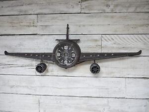 Aeroplane-Wall-Clock-Large-Vintage-Metal-Novelty-Retro-Roman-Numerals-Timepiece