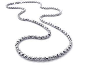 4mm-Women-Men-Chain-Round-Box-Link-Silver-Tone-Stainless-Steel-Necklace-22-039-039