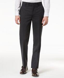 f0efa5342 $200 CALVIN KLEIN Men's Black Stretch Wool Slim Fit FLAT FRONT PANTS ...