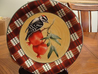 LENOX WINTER GREETING TARTAN DOWNY WOODPECKER 1 DINNER PLATE 10 3/4""