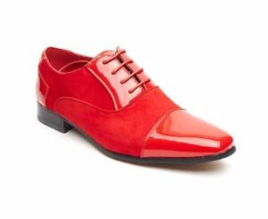 Leather Harry Red Shoe Pointed Rossellini Mens Faux Shiny Shoes Casual wZY74Oxq