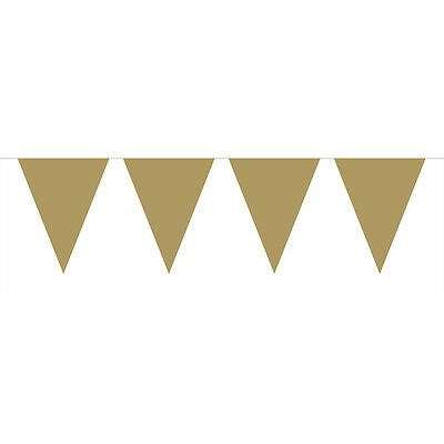 GLOSSY GOLD MINI FLAG PARTY BANNER BUNTING 3M