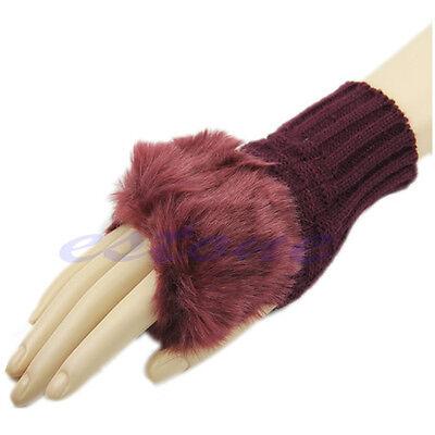 Fashion Girl Ladies Fingerless Fur Winter Warm Wrist Knitted Wool Mitten Gloves