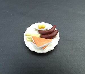 1/18 Scale Plate of 2 Eggs Up w Sausage and Toast Miniatures Diorama Accessory