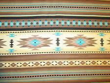 Navajo Indian Tan Brown Cream Teal Border Print Cotton Fabric BTHY