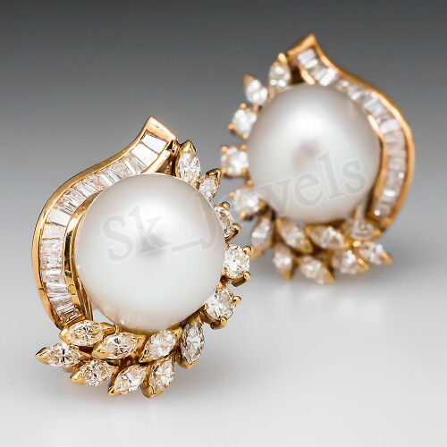 2.64ct DIAMOND PEARL 14k SOLID YELLOW gold WEDDING ANNIVERSARY EARRINGS STUDS