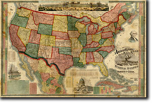 Details about Historic Map United States of America 1875 Reproduction Photo  Poster Print USA