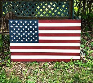 Details About Handmade Wooden American Flag Indoor Outdoor