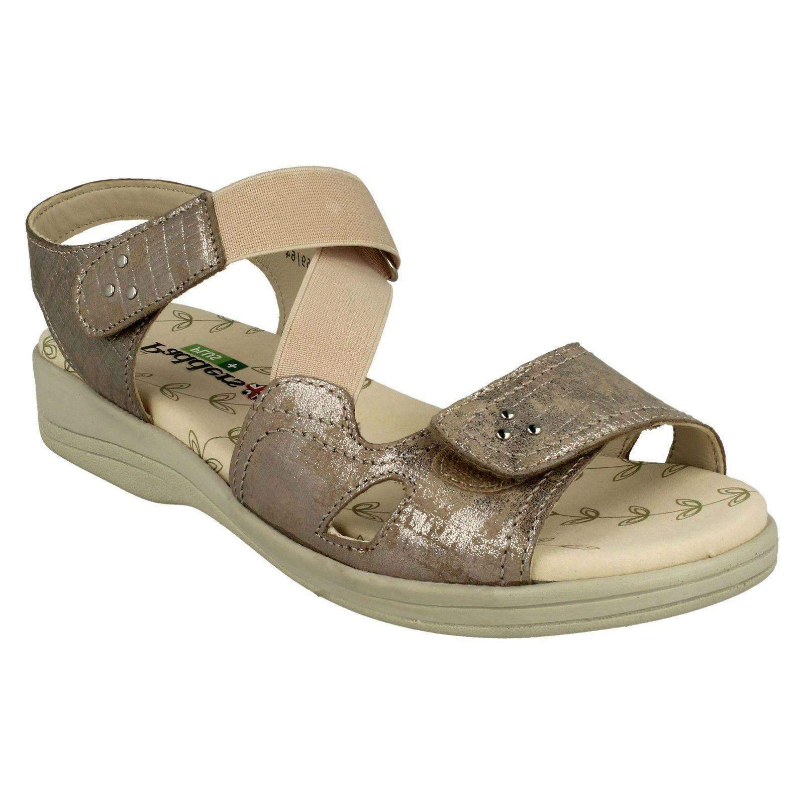 CRUISE LADIES PADDERS LEATHER ELASTICATED EXTRA WIDE COMFORT CASUAL SANDALS SIZE