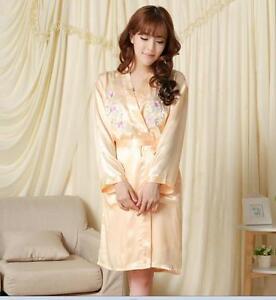 Charming Chinese women s silk pajamas sleepwear twinset yellow Sz  8 ... 888ff74b1