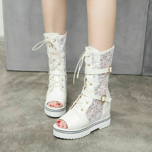 Womens Mesh Breathable Summer Sandals Boots Punk Lace-Up Open Toe Shoes Size 910