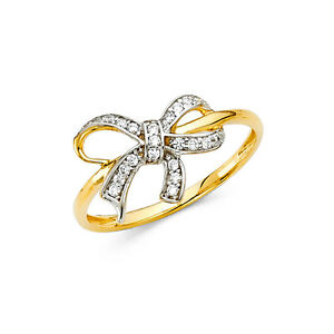 14K-Solid-Yellow-Gold-0-50-Ct-Diamond-Ribbon-Bow-Fancy-Fashion-Cocktail-Ring