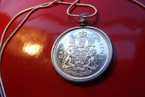 """Mint 1965 Canadian Fifty Cent Silver Coin pendant on a 30/"""" Silver Snake Chain"""