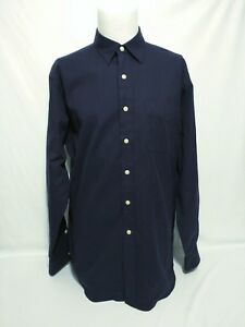 RALPH-LAUREN-Lowell-Sport-Mens-Size-LARGE-Navy-Herringbone-Long-Sleeve-Shirt