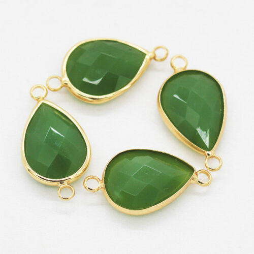 6p Pear Framed Faceted Glass Pendants Beads Necklace Connectors earrings finding