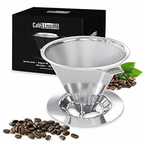 Reusable Stainless Steel Pour Over Coffee Filter Bar Cone Dripper Espresso Maker