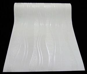 Vliestapete weiß silber  13191-20) hochwertige Vliestapete coole Retro-Welle Tapete weiss ...