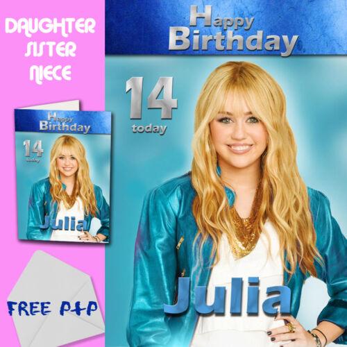 Hannah Montana-personnalisé Carte Anniversaire Fille Soeur Nièce
