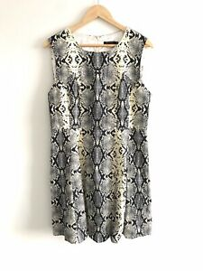Portmans-Size-16-Ladies-Dress-Snake-Skin-Print-Sleeveless-Fit-amp-Flare-Workwear
