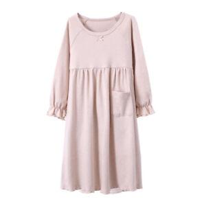 Organic-Cotton-Nightgown-Girls-Kids-Sleepwear-Dress-Long-Sleeve-Soft-Wear-2-15T