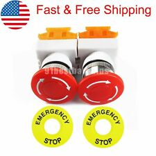 Lot Of 2 Red Mushroom Emergency Stop Push Button Switch No Nc 22mm Cnc Gecko