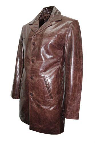 Jacket 4 Mens Knee Glaze Brown Blazer 3476 Button Cow Length Leather Classic New Eqx76rw1E