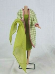 Vtg 1965 Mattel Barbie Poodle Parade Dress & Coat #1643 + Green Chiffon Scarf