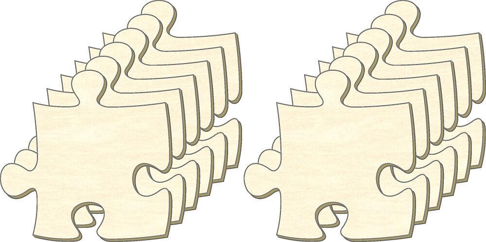 Blanko Puzzle unendlich, Größe L, Set 12 Teile, Puzzleteile aus Holz, Bemalen