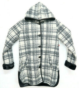Details about NWT IKE BEHAR Jacket COAT Womens Size Medium WhiteBlack Plaid Hood Fleece Lined