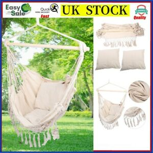 Hanging Hammock Chair Swing 2 Pillow Cushion Seat Outdoor Indoor