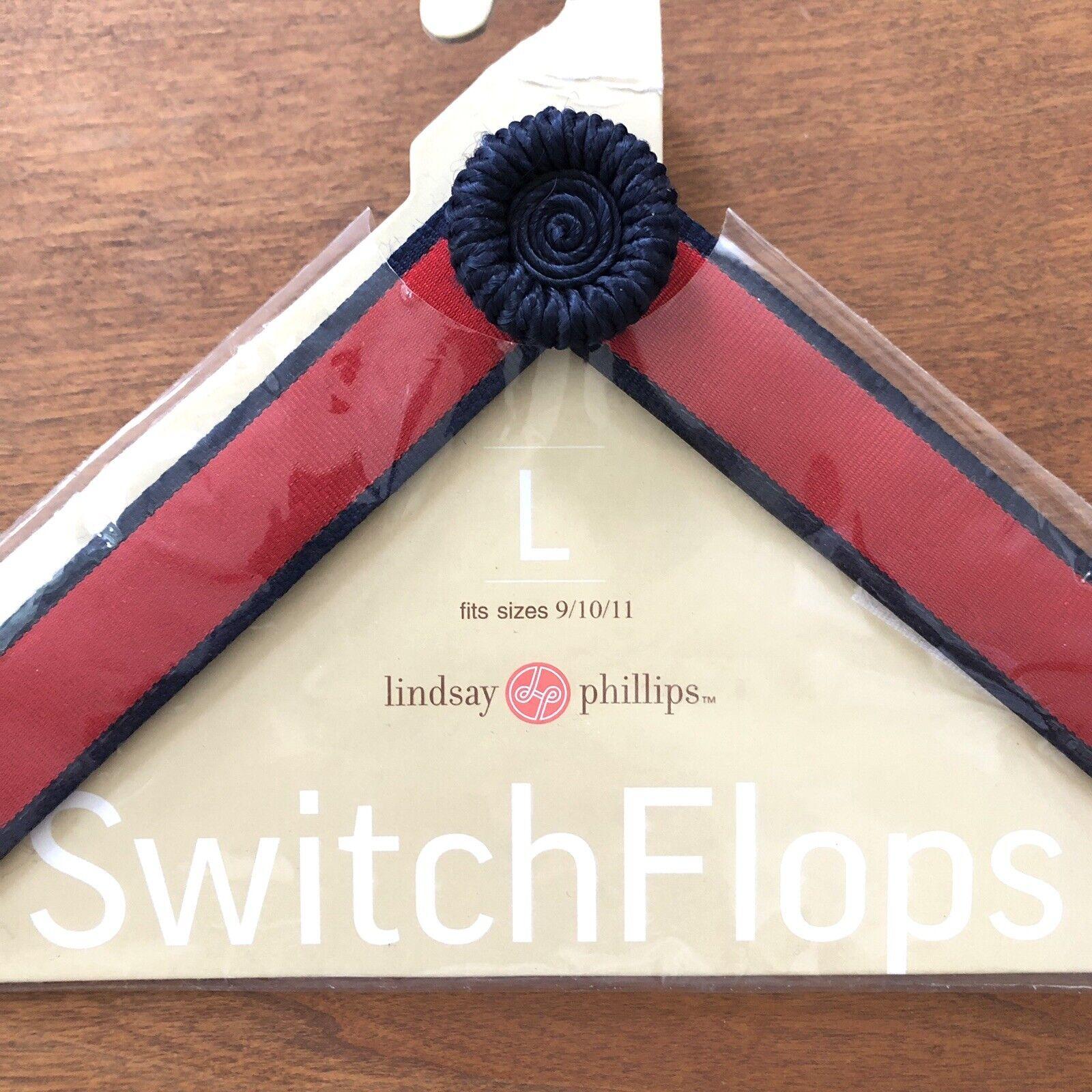 Lindsay Phillips SwitchFlops Strap Red Navy Blue Flip Flop NEW Large