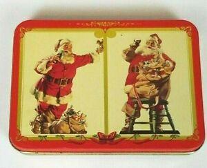 Coca Cola Coke Nostalgia Playing Cards Santa Christmas 2 Unopened Decks in Tin