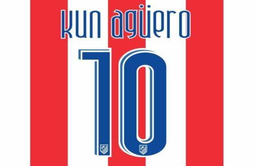 Aguero #10 Atletico Madrid 2007-2008 Home Football Nameset for shirt
