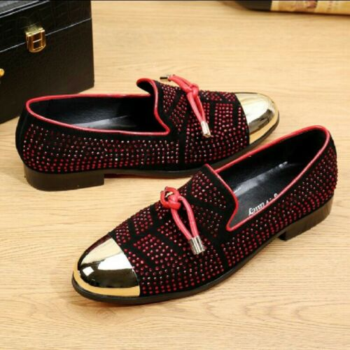 Hot Mens Metal Round Toe Bowknot Rhinestone Leather Low Heel Casual Shoes Comfy