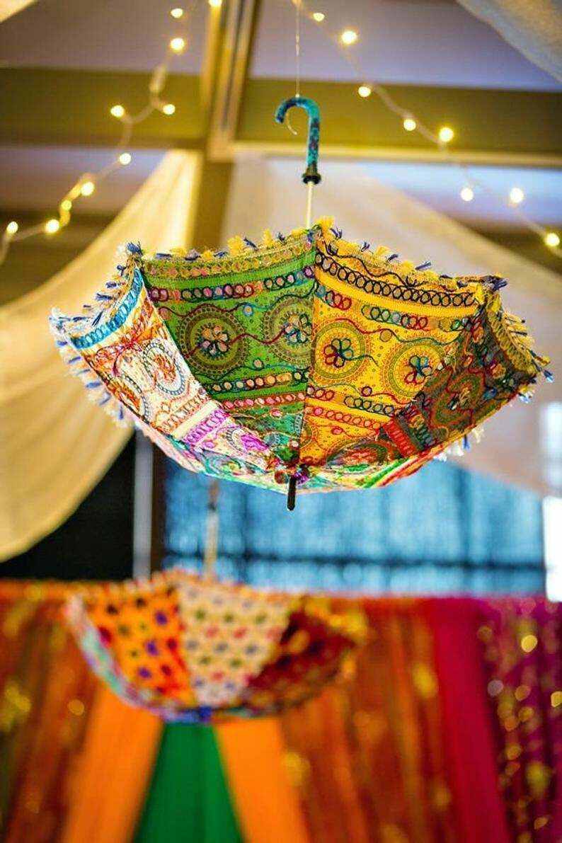 Wholesale Lot Indian Handmade Embroidered Parasol Home Decorative Sun Umbrella