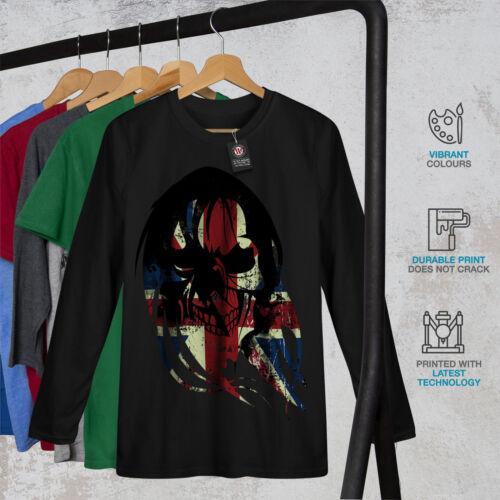 TESCHIO Morte Stampa Bandiera UK Uomo Manica Lunga T-shirt Nuovewellcoda