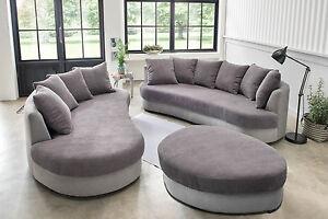 Sofa rundecke  Sofa Recamiere Rundecke Ferro Cord Pastell Lounge Sofa Hocker Kord ...