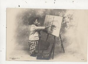 Child-Artist-47e-Serie-no-3-France-Vintage-U-B-Postcard-883a