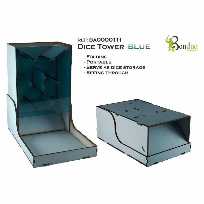 Bandua Warspel Portable Dice Tower blå Folding Dice Tower blå grå Dice