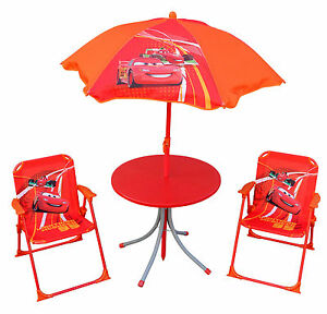 Image is loading Disney-Pixar-Cars-4pce-Kids-Patio-Chair-and-  sc 1 st  eBay & Disney Pixar Cars 4pce Kids Patio Chair and Table Set Lightning ...