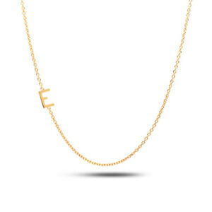 Details About Sideways Initial Necklace 14k Gold 14k Gold Personalized Necklaces