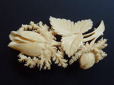 Gewidmet Brosche Rose Blüte Blätter Bein Beinschnitzerei Creme Weiß Warmes Lob Von Kunden Zu Gewinnen
