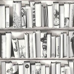 Papier Peint Livres Bibliotheque new muriva book shelf case pattern library vintage motif white