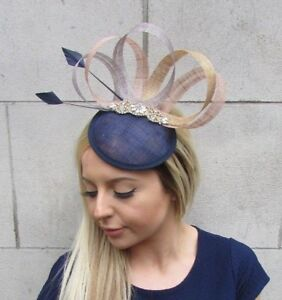 Navy Blue Nude Gold Grey Sinamay Feather Pillbox Hat Fascinator Hair ... f6b0d31b9cf