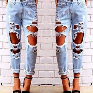 Women-Denim-Jeans-Pants-Ripped-Distresse-Holes-Destroyed-Boyfriend-Long-Trousers