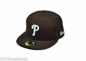 New-Era-59Fifty-Hat-MLB-Philadelphia-Phillies-Mens-Brown-White-Fitted-Cap-7-1-8